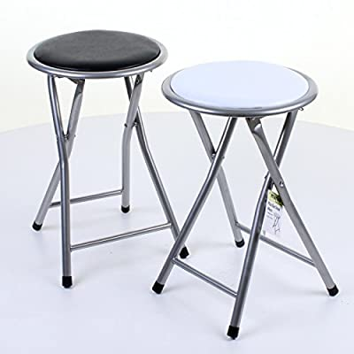 Marko Furniture Round Folding Kitchen Breakfast Bar Stool Chair Silver Frame Seat - cheap UK light shop.