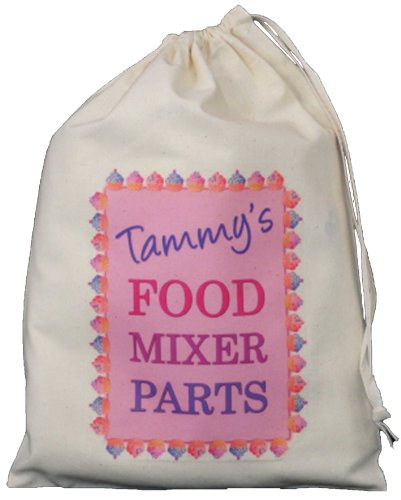 Price comparison product image Personalised - Food Mixer Parts Bag - SMALL Natural Cotton Drawstring Bag - 25cm x 35cm