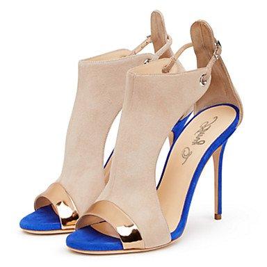 Enochx sandali da donna primavera estate autunno comfort festa di nozze & sera Abito fantasia in tessuto tacco a spillo con cerniera da passeggio Blue