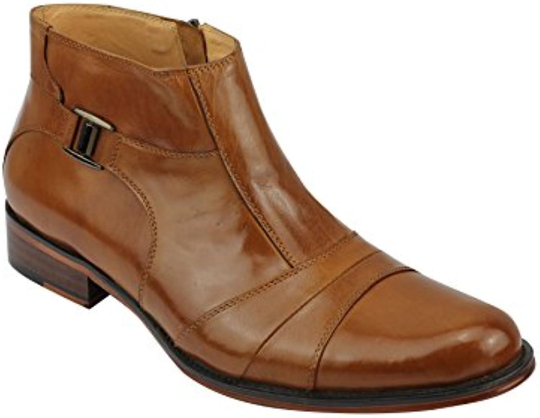 Herren Echt Leder Tan Slip On Zip Italienische Stil Formale Kleid Boot Schuhe