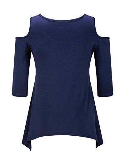 Donne Casual Bluse Mezza Manica Girocollo Off Spalla Camicetta Camicia Irregolare Tunica Tops T-shirt Blu Zaffiro