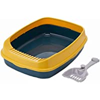 Royale Cat Pet Cleaning Products Extra Large Cat Toilet with Cat Poop Scoop Plastic Cat Litter Box -Yellow
