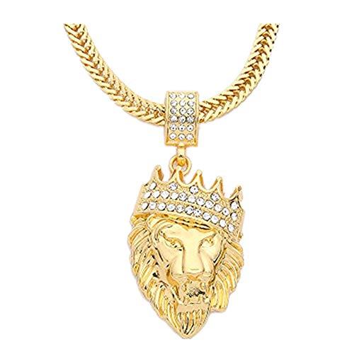DAY.LIN Kette Schmuck Halskette Herren Herren Voller Iced Out Strass Lion Tag Anhänger kubanische Kette Hip Hop Halskette (Gold)