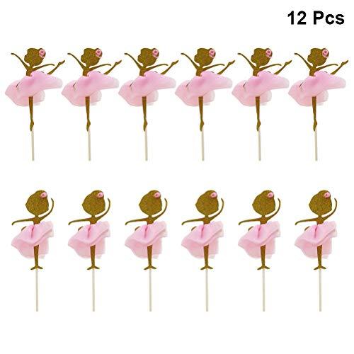 STOBOK 12 stücke Gold Glitter Ballerina tänzerin Cupcake Topper Picks für Hochzeit brautdusche Geburtstag Party Dekoration (Ballerina Dekoration Geburtstag Party)