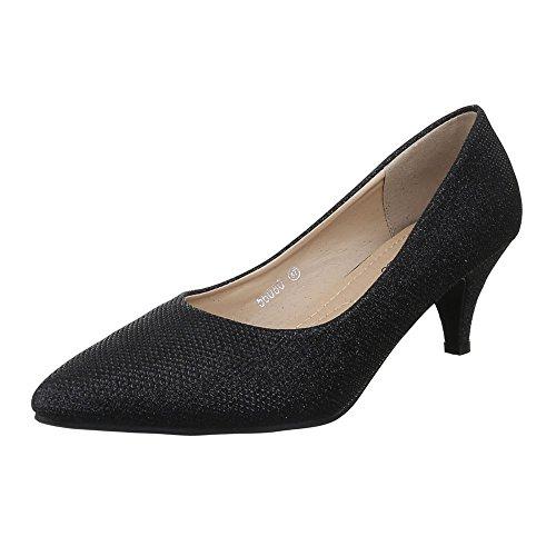 Damen Schuhe, 56080, Pumps, Glitter, Synthetik, Schwarz, Gr 38 Glitter Slingback Pump