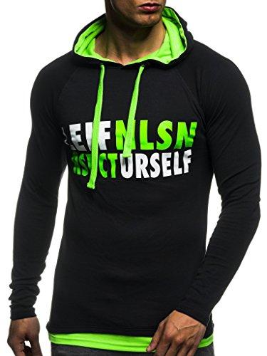LEIF NELSON Gym Herren Fitness Sweatshirt mit Kapuze Hoodie Langarm Trainingsshirt T-Shirt Training LN06278; Größe L, Schwarz-Gruen -