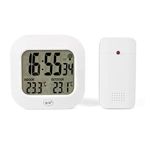 TECVANCE TV-3946 Estación de Temperatura con Reloj Radio controlado y Sensor Exterior Blanco 11x11x3...