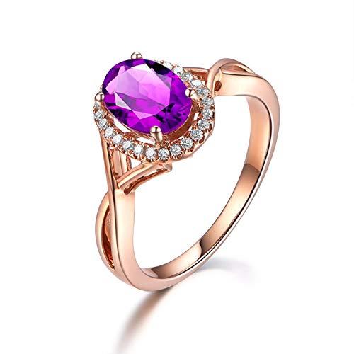 KnSam Ring Sterling Silber 925 Damen Hochzeitsring Oval mit Echt Amethyst Jahrestag Geschenk für Frauen Mutter Gr.57 (18.1) Modeschmuck