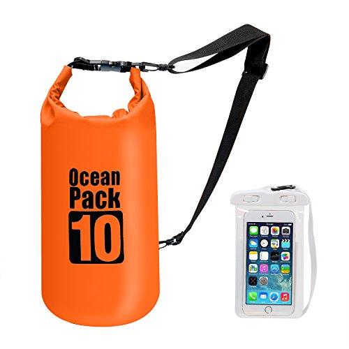 Bolsa impermeable prémium con correa para el hombro, paquete flotante de 10 L, bolsa ligera con funda para teléfono móvil y otros dispositivos para viajes, kayak, senderismo, acampada, rafting y más, naranja