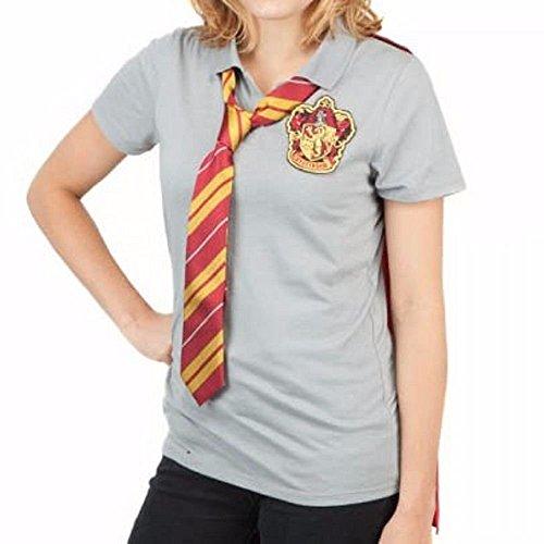 (Damen Harry Potter Gryffindor Cape -Polo-Hemd Für Erwachsene Mit Krawatte XL - EU 40-42 Grau)