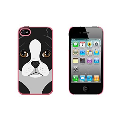 Boston Terrier Dog Pet Snap On Hard Protective Case for Apple iPhone 4 4S - Pink from Graphics and More
