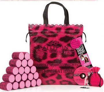 Sleep-In Rollers Gift Pack Includes 20 Rollers/ Drawstring Bag and Velour Pouch with Clips (Pink LEOPARD)