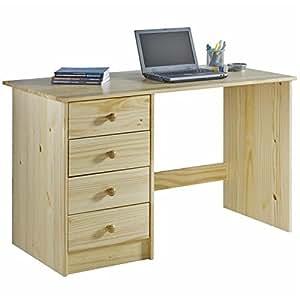 bureau multi rangements arne 4 tiroirs pin massif vernis naturel cuisine maison. Black Bedroom Furniture Sets. Home Design Ideas