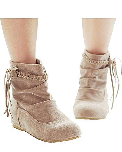 Minetom Damen Herbst Und Winter Fringed Stiefel Nubukleder Stiefeletten Flache Schuhe Beige 40 (Schnalle Spitze Nubukleder)