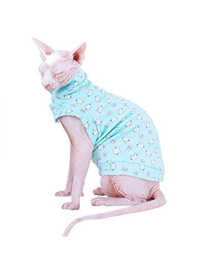 weiß Baumwolle shirt-best für haarlose Katze (Sphynx Katze Kostüm)