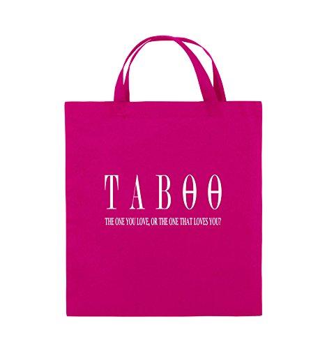 Comedy Bags - TABOO - LOGO2 - Jutebeutel - kurze Henkel - 38x42cm - Farbe: Schwarz / Silber Pink / Weiss