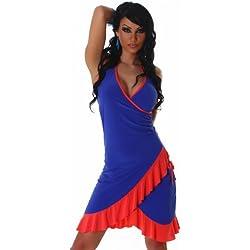 Jela London Cocktailkleid Kleid Tanzkleid V-Ausschnitt zweifarbig - Einheitsgröße 34,36,38 - Blau-Coral