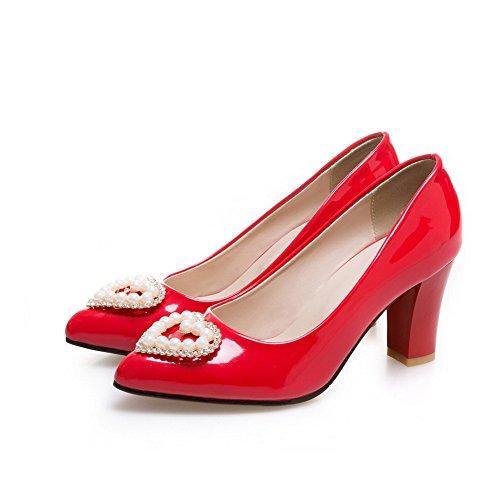 ... VogueZone009 Donna Puro Pelle di Maiale Tacco Medio Scarpe A Punta  Tirare Ballerine Rosso