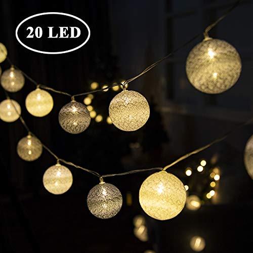 GIGALUMI LED Kugel Lichterkette Ø 6 cm 20 Stück Grau und Weiß Baumwolle Kugel Batterie betrieben innen Deko für Weihnachten, Hochzeit, Party usw.