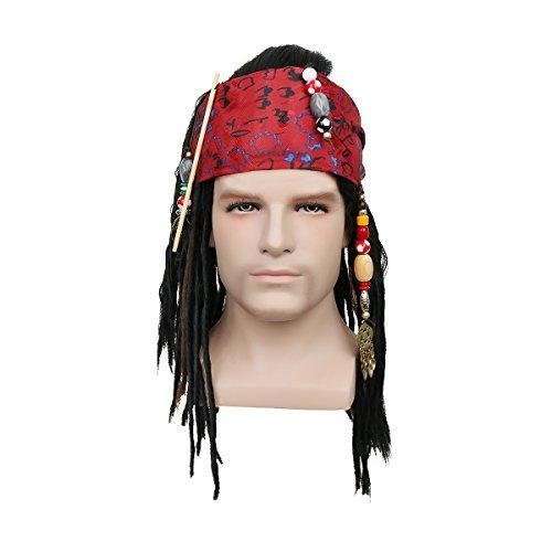 Nofonda Perücke Pirat mit Bandana Viking Kapitän Kostüm für Halloween Fasching (Jack Sparrow Halloween)