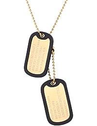U7 Collar Personalizado Placa de Militar Hombre Acero Inoxidable Colgante Collar Dog Tag de Identificación con Cadena Fina de Bolas 60cm