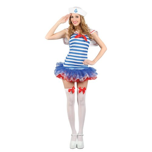 Sailor Girl Kostüm Up Pin - Ladies Blue White Sexy Sailor Girl Pinup Navy Uniform Fancy Dress Costume