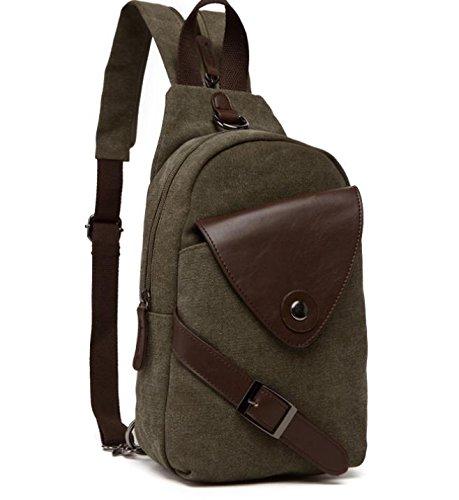 &ZHOU Segeltuchtasche, Männer und Frauen multifunktionale Canvas Tasche Brust Tasche Rucksack dual Rucksack Freizeit Schulter Messenger army green