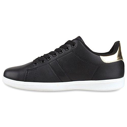 Damen Sneakers | Sneaker Low Metallic Cap | Sportschuhe Leder-Optik Glitzer | Freizeit Schnürer Prints Samt | Trainers Allyear Gold Schwarz