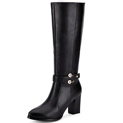 COOLCEPT Damen Mode-Event Pointed Toe Blockabsatz Rei脽verschluss stiefeletten Gem眉tlich 眉ber kniehohe Stiefel Schwarz