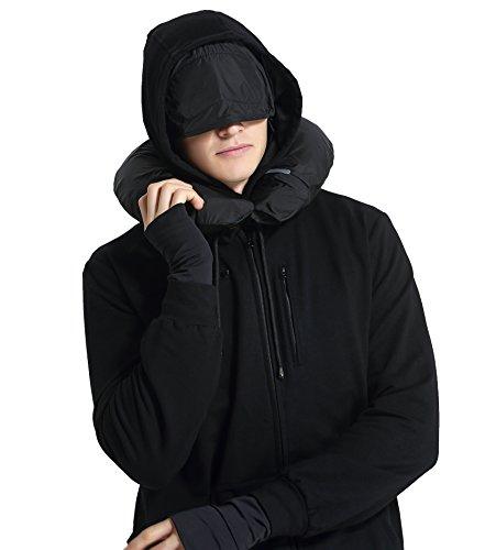 XY37 Männer Reise Jacke Hoodie 10 Taschen Reisekissen Augenmaske Gesichtsmaske (Handschuhe Plus Schwarze Size)