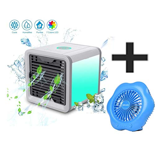 XUE Neuer Mini-Luftkühler, Mini-Evapolar-Luftbefeuchter, 3 Gang-Geschwindigkeits-Büro-Kühler-Luftbefeuchter & Luftreiniger (Geben Sie 1 * Desktop-Lüfter),A