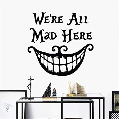 Halloween We Are All Mad Here Vinyl Sticker Cheshire Cat Decor Big Mouth Living Room Mural Poster ()