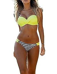 Damen Push Up Bikini Set BH Pantys Badeanzug Gepolstert Schwimmanzug Bademode DE