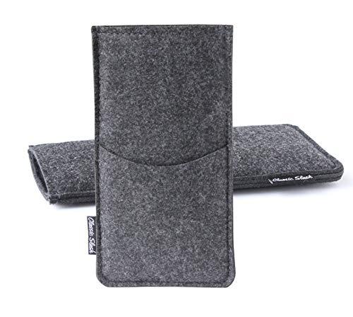 Classic Slash Handytasche geeignet für Huawei P20 Pro Filz I dunkelgrau