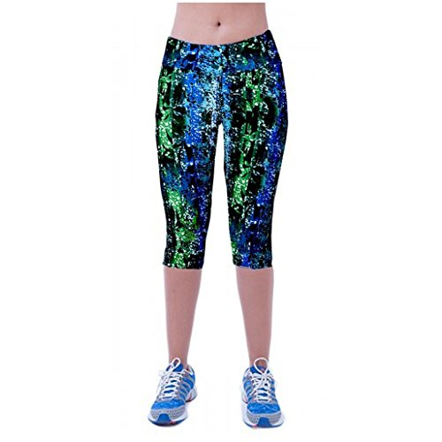 Zolimx Printed Stretch geerntete Gamaschen Hohe Taille Fitness Yoga Sport Hosen (XL) (Neue Baumwolle Shorts Spandex Damen)