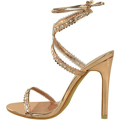 Chaussures ouvertes à talons aiguilles - strass/lacets - femme rose doré métallisé