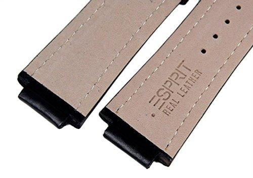 Esprit Ersatzband aus Leder in schwarz mit Naht für Superkeen Night Uhr ES101671001