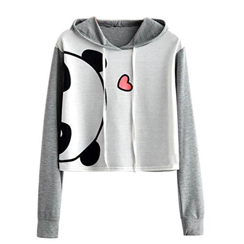 TWIFER Damen Herbst Frühling Animal Print Langarm Kapuzenpullover Crop Pullover Bluse Sweatshirt (S, Grau) Pullover Mit Animal Print, Für Mädchen