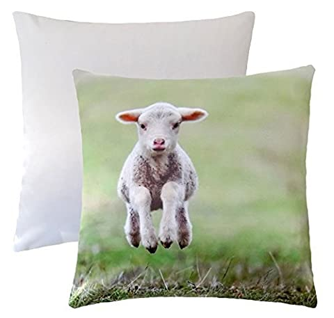 CUTE SPRING LAMB GREEN BROWN WHITE SUPERSOFT CUSHION COVER 17