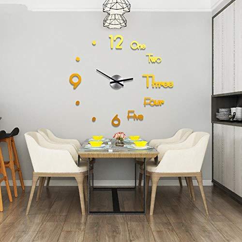 KSLD Wanduhren Acryl Große Wanduhr Modernes Design 3D Wohnzimmer Quarz Wandaufkleber DIY Uhr Wohnkultur, Golden, China, 8Mm-60Cmx68Cm
