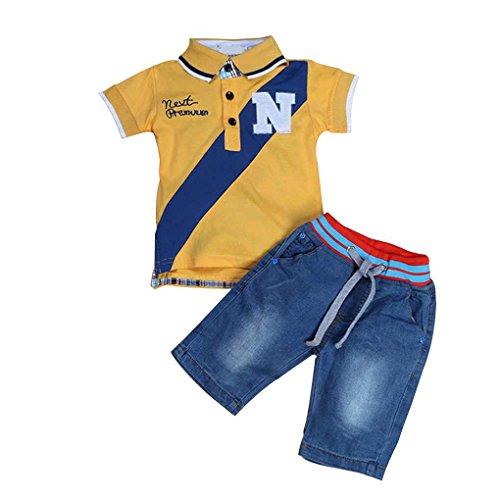 Babysbreath17 Kid Boy Short Sleeve Cowboy-Polo-Shirt T-Shirt Hosen Jeans Outfit Kleidung Anzug Gelb 4T 4t Jeans