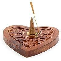 Luxflair Räucherkegelhalter Herz aus Sheesham-Holz mit Messing Ying&Yang abbrennen von Räucherstäbchen, Räucherkegel... preisvergleich bei billige-tabletten.eu