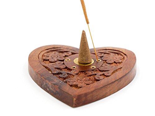 Luxflair Edler Räucherkegelhalter Herz, Räucherstäbchenhalter aus Sheesham-Holz, zum Abbrennen von Räucherstäbchen und Räucherkegel, originelles Design -