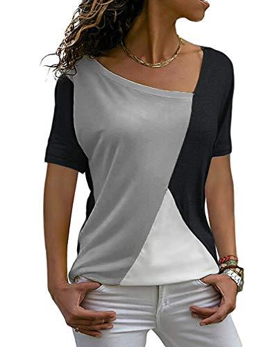 Minetom Damen T-Shirts Sommer Casual Patchwork Farbblock Kurzarm Asymmetrischer V-Ausschnitt Top Bluse Oberteil Grau DE 44 -