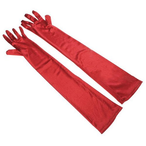 Edle elegante Satin Handschuhe rot - Gr. S-L -