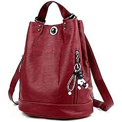 DEERWORD Femme Sacs portés dos Petit Sacs portés main Marque Faux Cuir Sacs bandoulière Fleuri Rouge Vineux