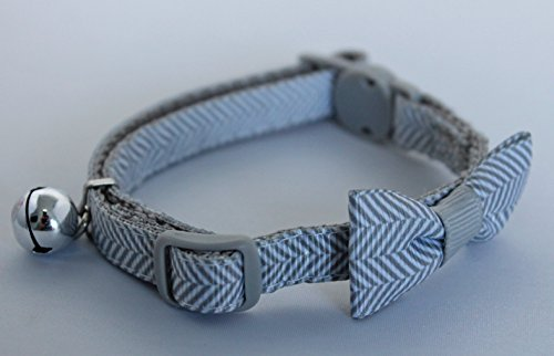 """MARTHA STEWART, FULLY ADJUSTABLE, BOW TIE KITTEN / CAT COLLAR (FITS NECK SIZE 8"""" TO 12"""") FANTASTIC QUALITY (SILVER)"""