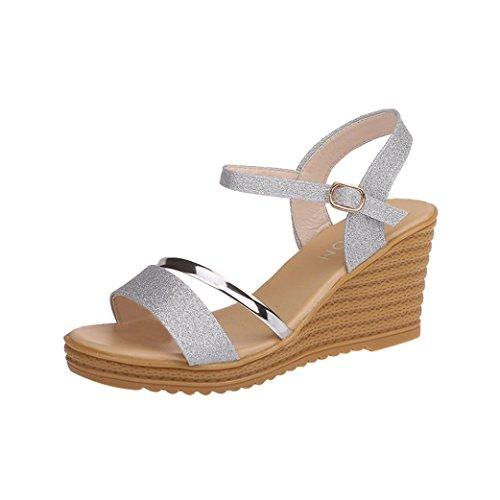 Sandalias de Vestir Plataforma tacón Alto de Playa para Mujer y Niña, QinMM Casual Zapatos Verano...