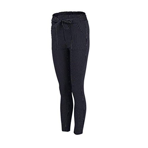 UFACE Damen Gestreifte Hohe Taille Hose Hosen Frauen Bowtie Elastische Taille beiläufige Hosen (S/(38), Dunkelblau) (Gestreifte Socken Hohe Gold)