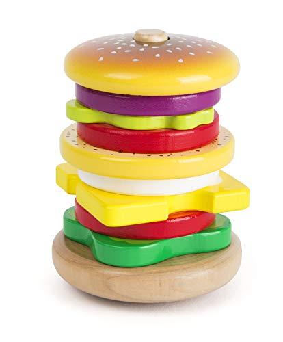 Small Foot- Hamburger da impilare in Legno Certificato FSC 100%, Gioco ad Incastro con Divertente Funzione e Movimento traballante Giocattoli, Multicolore, 11062